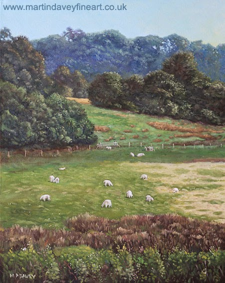 Sheep in a field in the Devon countryside – oil painting Martin Davey
