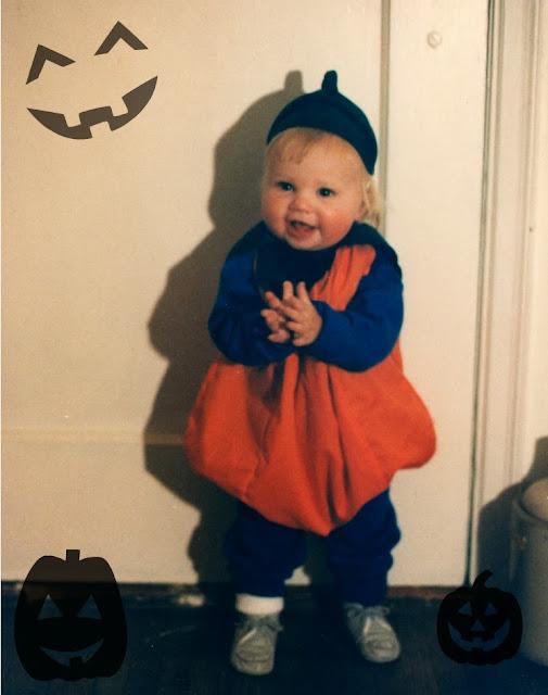 1985 halloween claire as a pumpkin