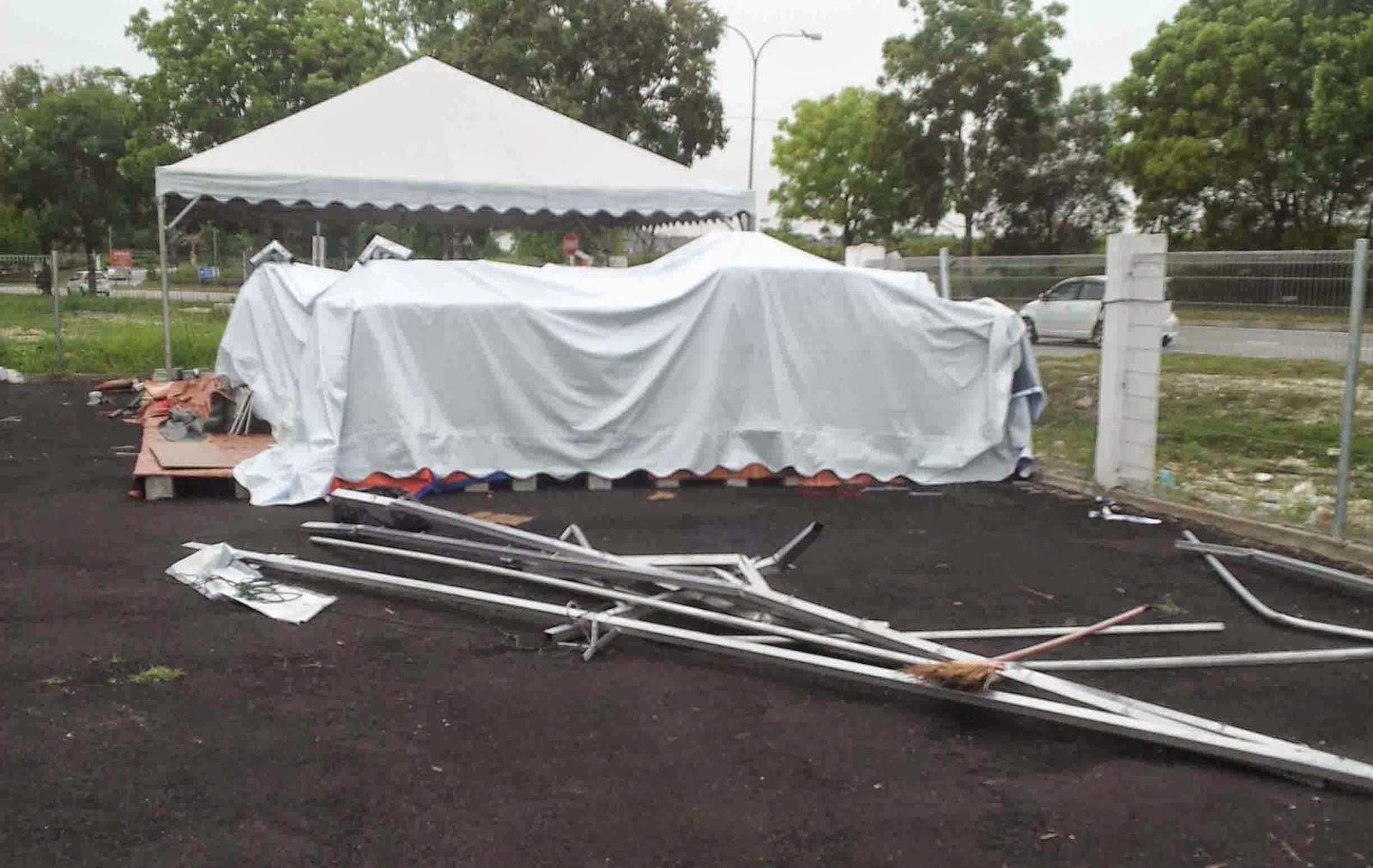 Bagaimana mengelakkan kanopi / khemah runtuh / terbang semasa cuaca buruk?