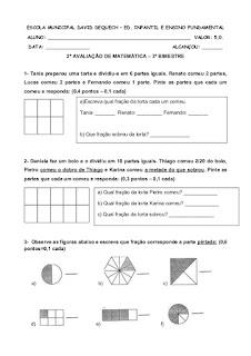 Avaliação de Matematica Fração 4o ano