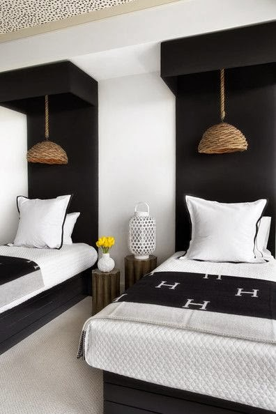 Black and white bedroom. Hermes blanket.