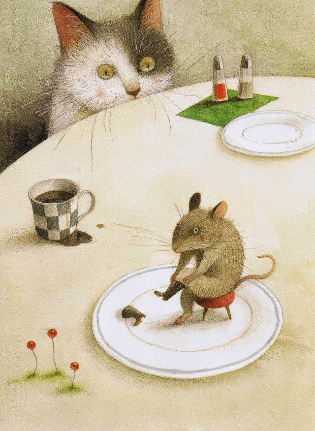 mouse putting on his boots with cat watching illustration by Ayano Imai