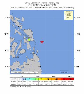 Epicentro sismo 5,4 grados en islas Filipinas, 06 de Diciembre de 2012