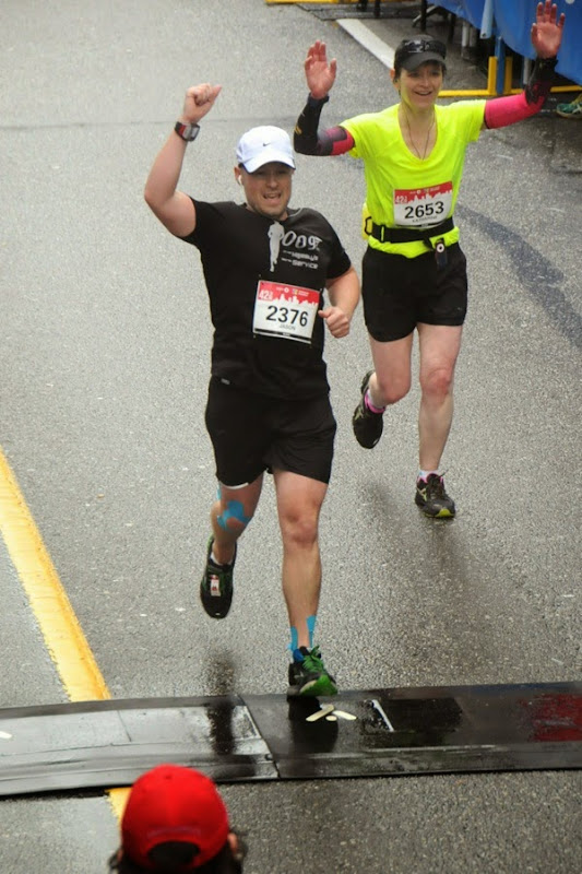 Crossing Finish Line Vancouver Marathon 2014
