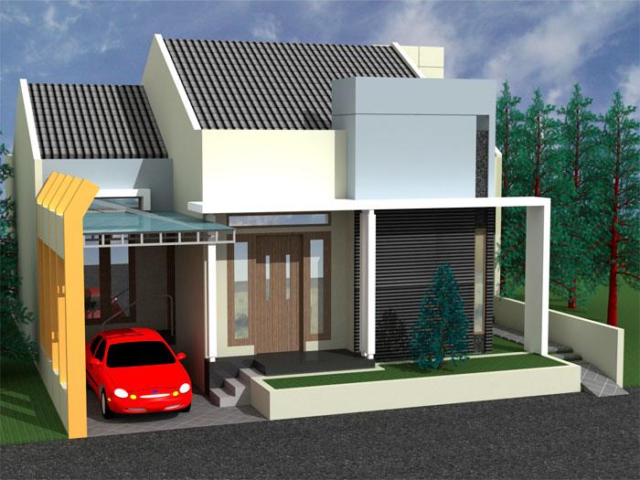 Rumah tipe Minimalis Tampak depan dengan Garasi