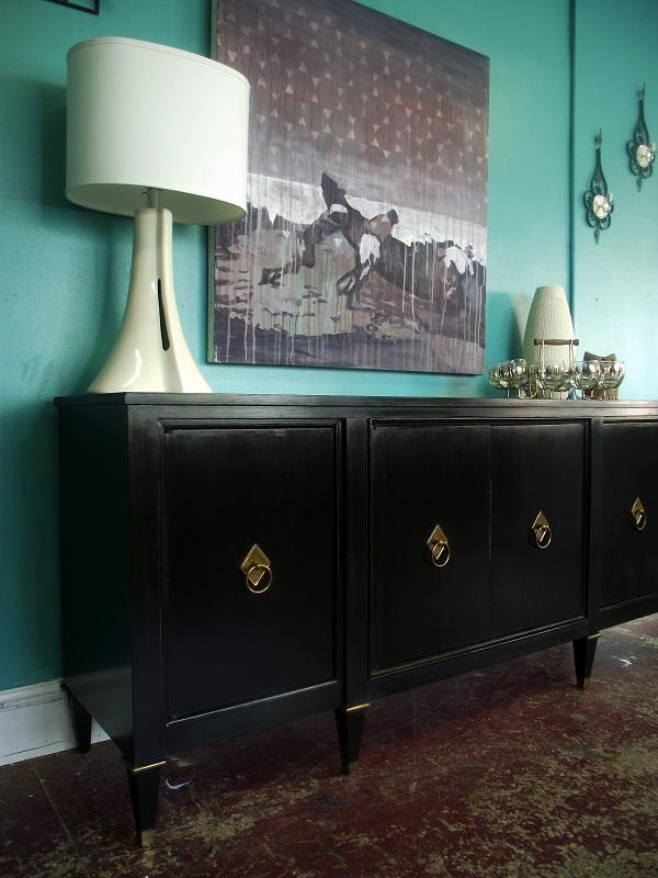 Mid Century / Vintage Sleek Black Buffet Sideboard Credenza