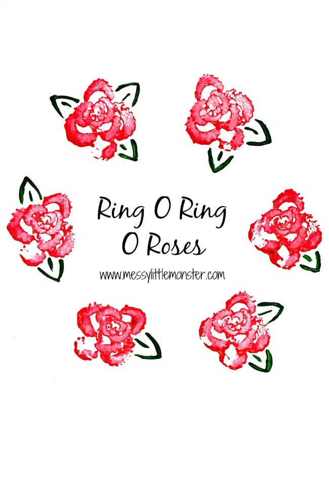 Rose prints using celery. Ring o ring o roses nursery rhyme craft. Preschoolers, toddlers, eyfs