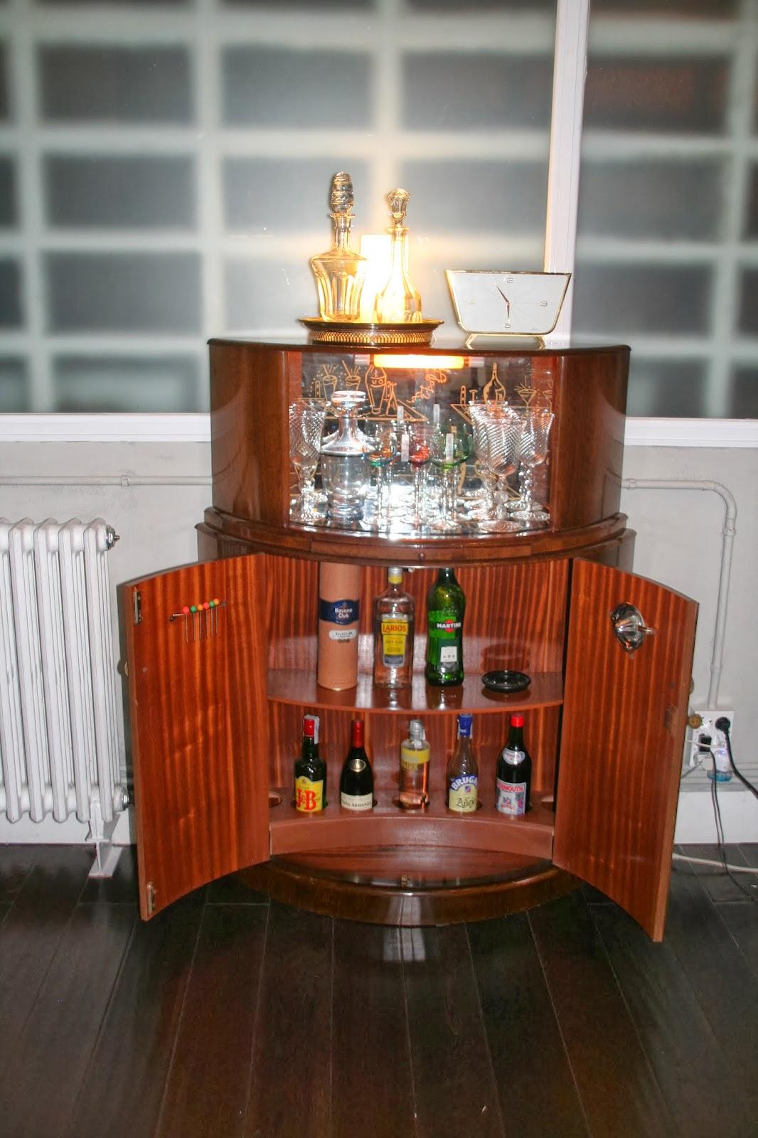 Mueblebar mueble bar cocktail ingl s semicircular a os 50 - Mueble anos 50 ...