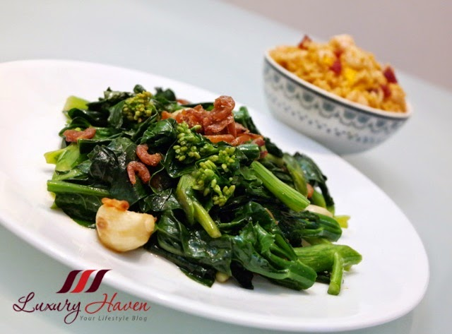 stir fry kale with oyster sauce dried shrimps