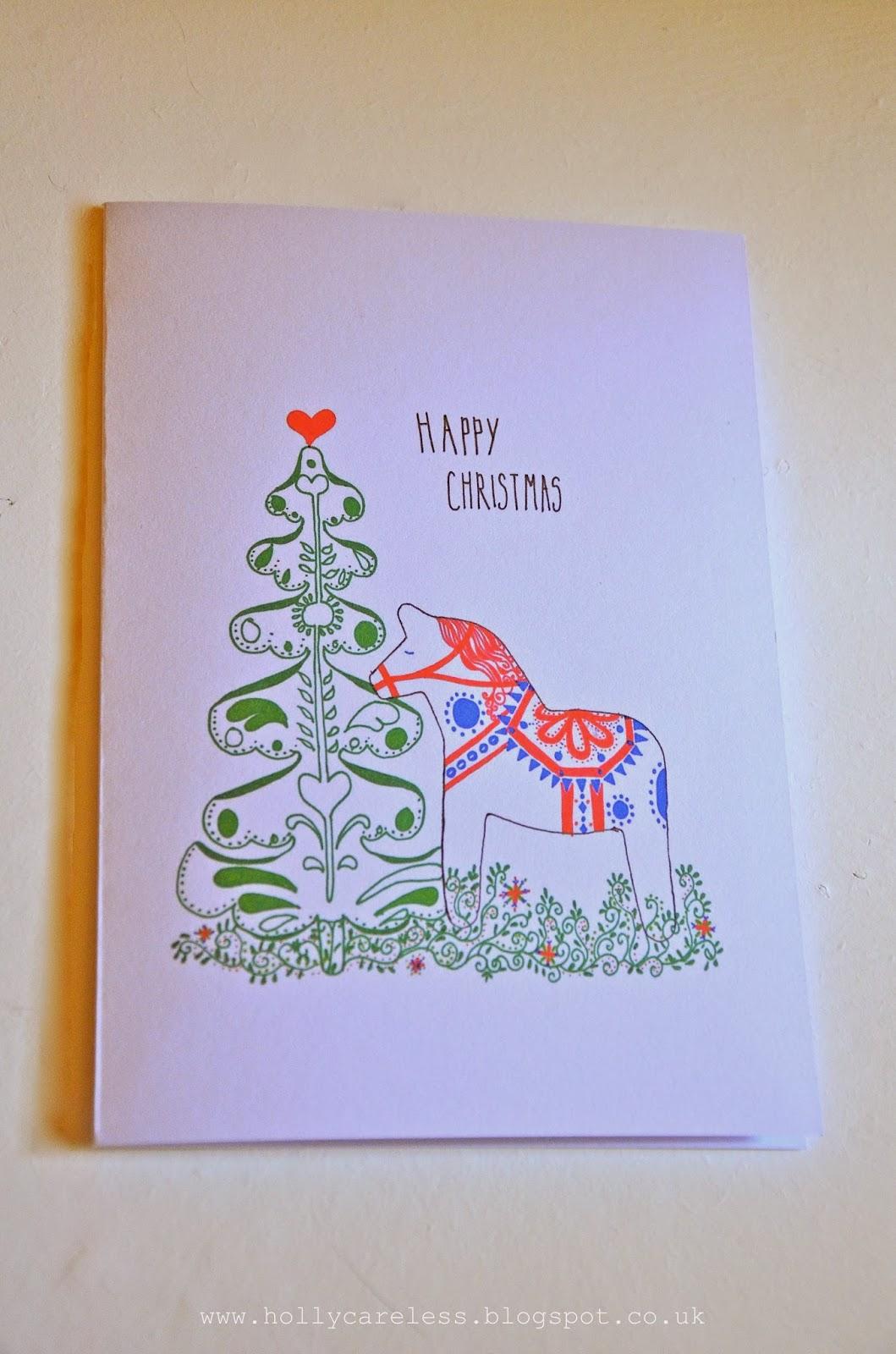 Holly Careless: Dala Horse Christmas Cards