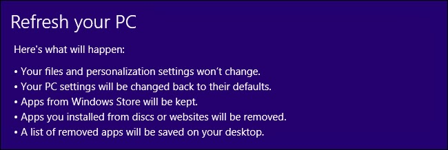 refresh windows 8