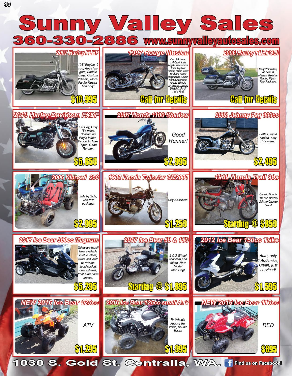 Sunny Valley Sales Motorcycles, ATVs, Scooters