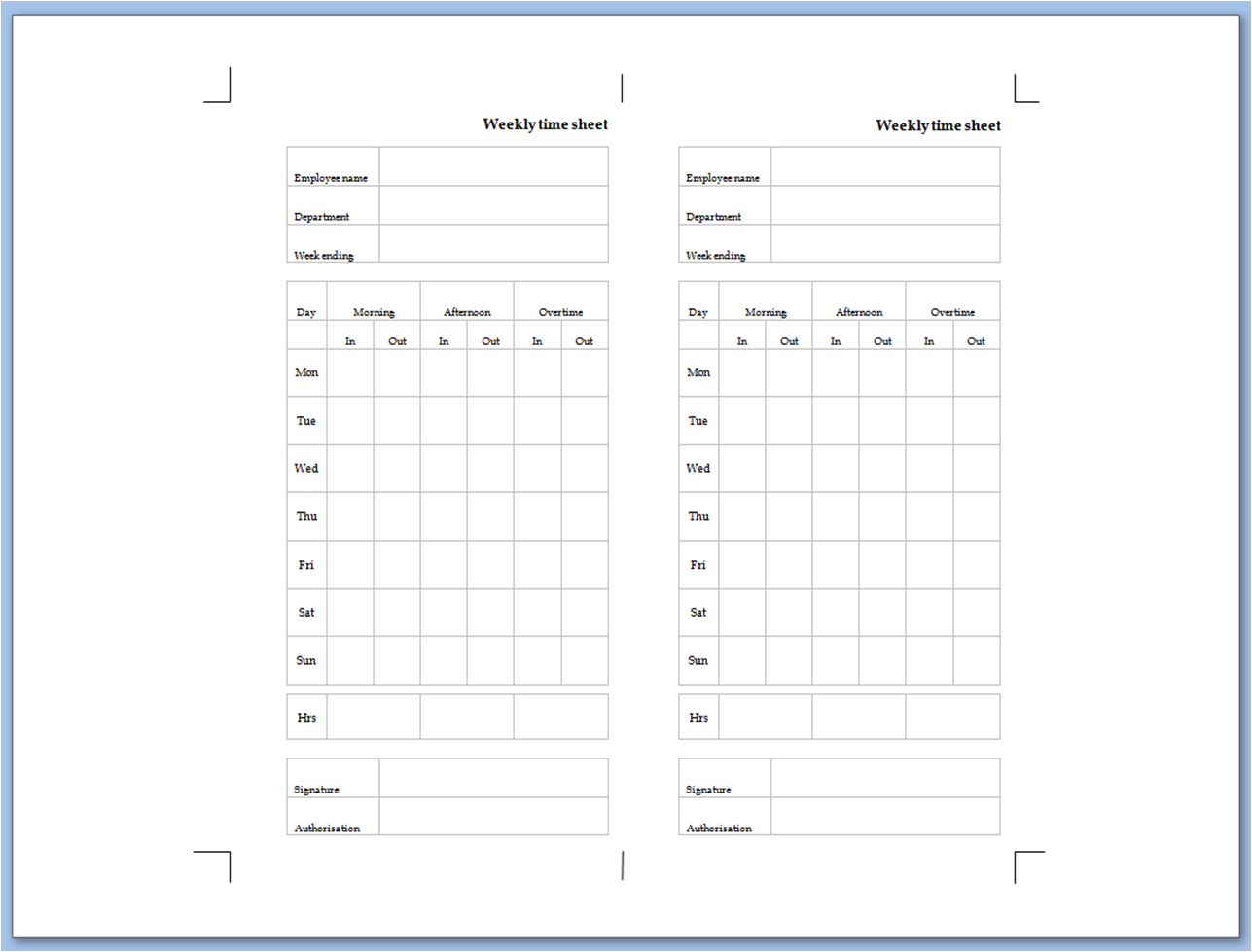 My Life All in One Place: Weekly time sheet to print for ...