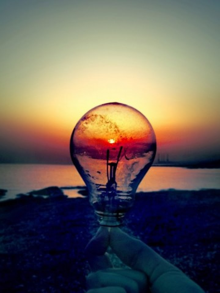 Light Bulb Sunset Beach  Galaxy Note HD Wallpaper