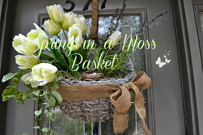 Spring basket wreath with tulips and moss