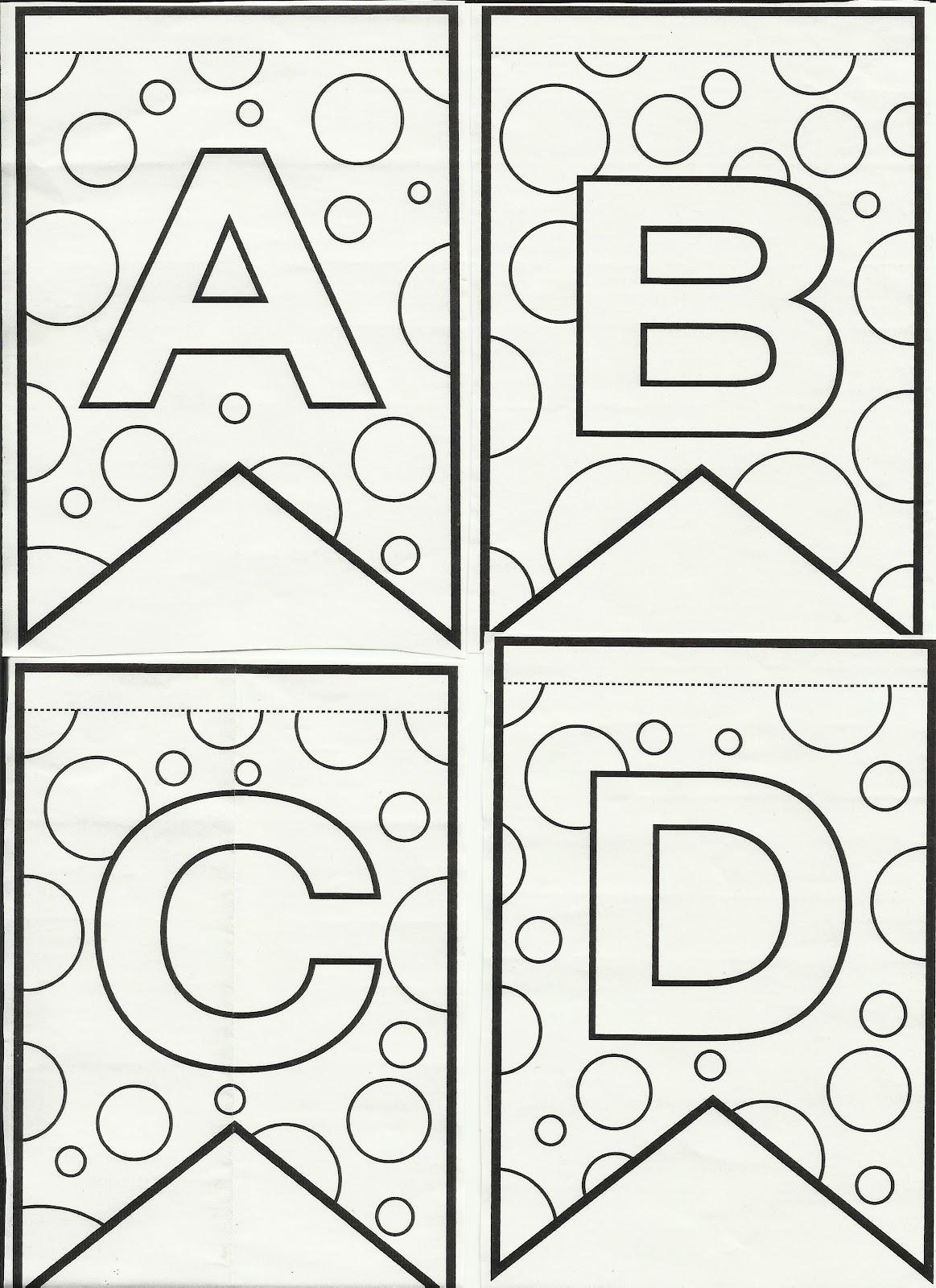 Letras do alfabeto bandeirinhas de Festa Junina para colorir e ...