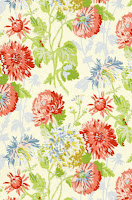 Floral Wallpaper cranberry on linen blue green T4128