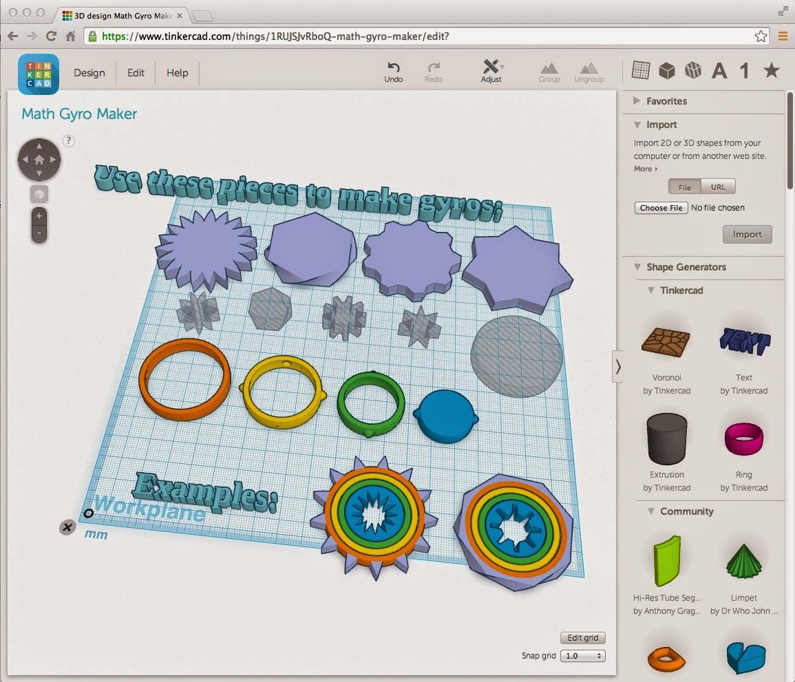 MakerHome: Day 338 - Tinkercad Math Gyros