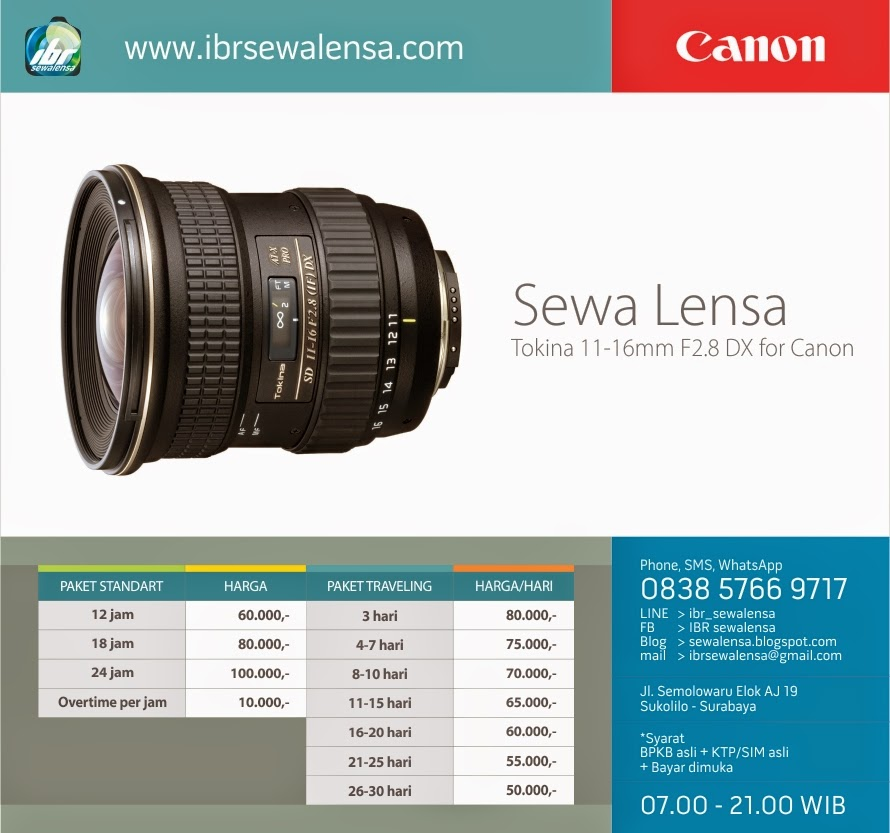 Harga sewa lensa TOKINA AF 11-16mm f/2.8 (IF) DX for Canon