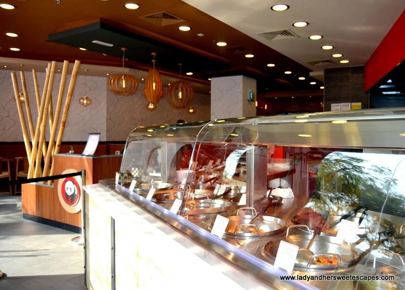 Panda Express restaurant counter in Dubai