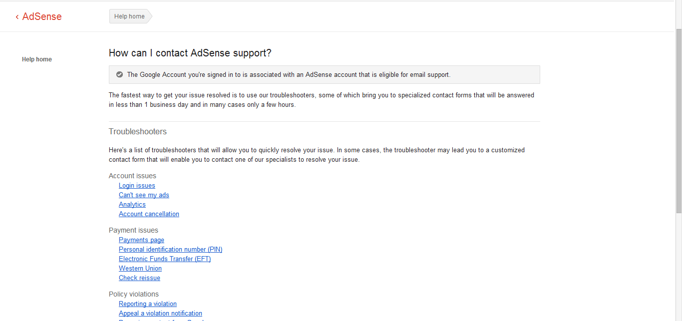 Adsense Email Support Eligibility