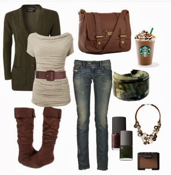 Sweater, warm blouse, long boots, jeans and other accessories for fall fashion