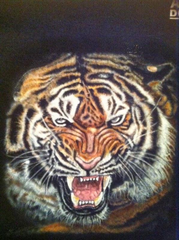 Peinture sur teeshirt tigre par bysoairdisign