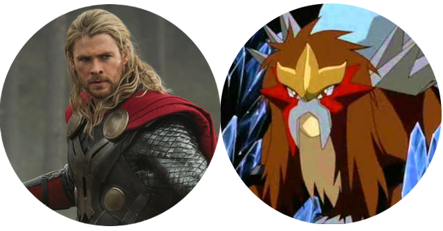 Chris Hemsworth as Thor looks like human-Entei from Pokemon to me