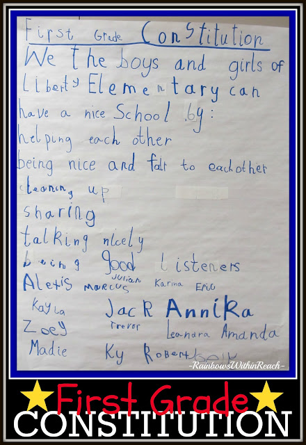 First Grade Constitution: Rules for the Classroom signed by Students