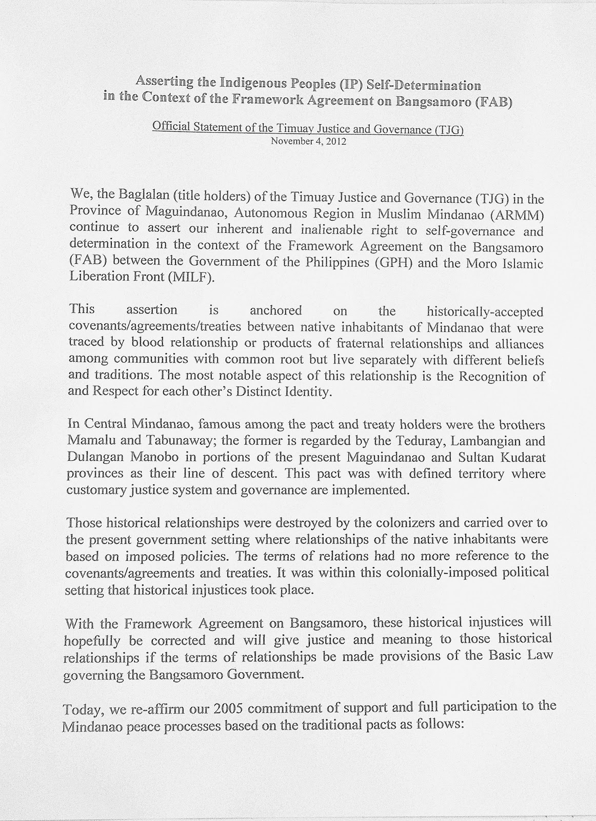 bangsamoro framework agreement Manila - petitions that sought to declare as unconstitutional the comprehensive agreement on the bangsamoro (cab) and framework agreement on the bangsamoro (fab.