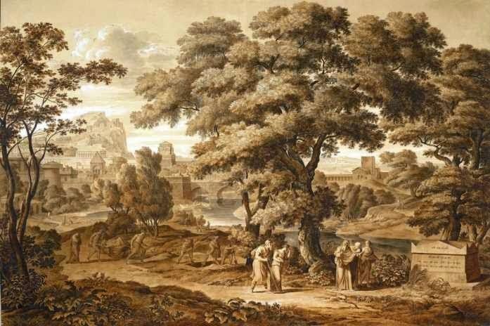 Ο Οιδίποδας και η Αντιγόνη εγκαταλείπουν τη Θήβα. Koch, Joseph, 1797. Ο τυφλός Οιδίποδας περπατάει δίπλα στην Αντιγόνη, κρατώντας με το δεξί του χέρι ένα μπαστούνι, ενώ το αριστερό του χέρι το κρατάει η Αντιγόνη καθοδηγώντας τον. Τρεις Θηβαίοι τους παρακολουθούν καθώς απομακρύνονται, ενώ μόλις έχουν προσπεράσει ανθρώπους που ανοίγουν τάφους ή άλλους που μεταφέρουν τα πτώματα από την αρρώστια που έπληξε τη Θήβα. Το θλιβερό θέαμα είναι που κάνει την Αντιγόνη να κλείνει τα μάτια της, αν και είναι οδηγός του τυφλού πατέρα της. Βιέννη, Albertina