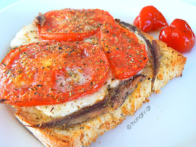 Anchovies Bruschetta with Tomatoes and Mozzarella