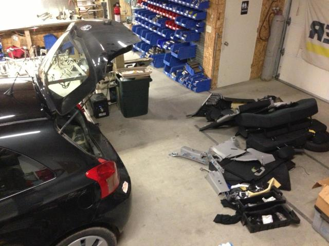 Gutting the Toyota Yaris for racing