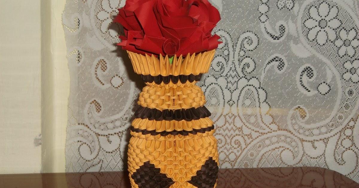 Razcapapercraft Origami 3d Vase With Flowers