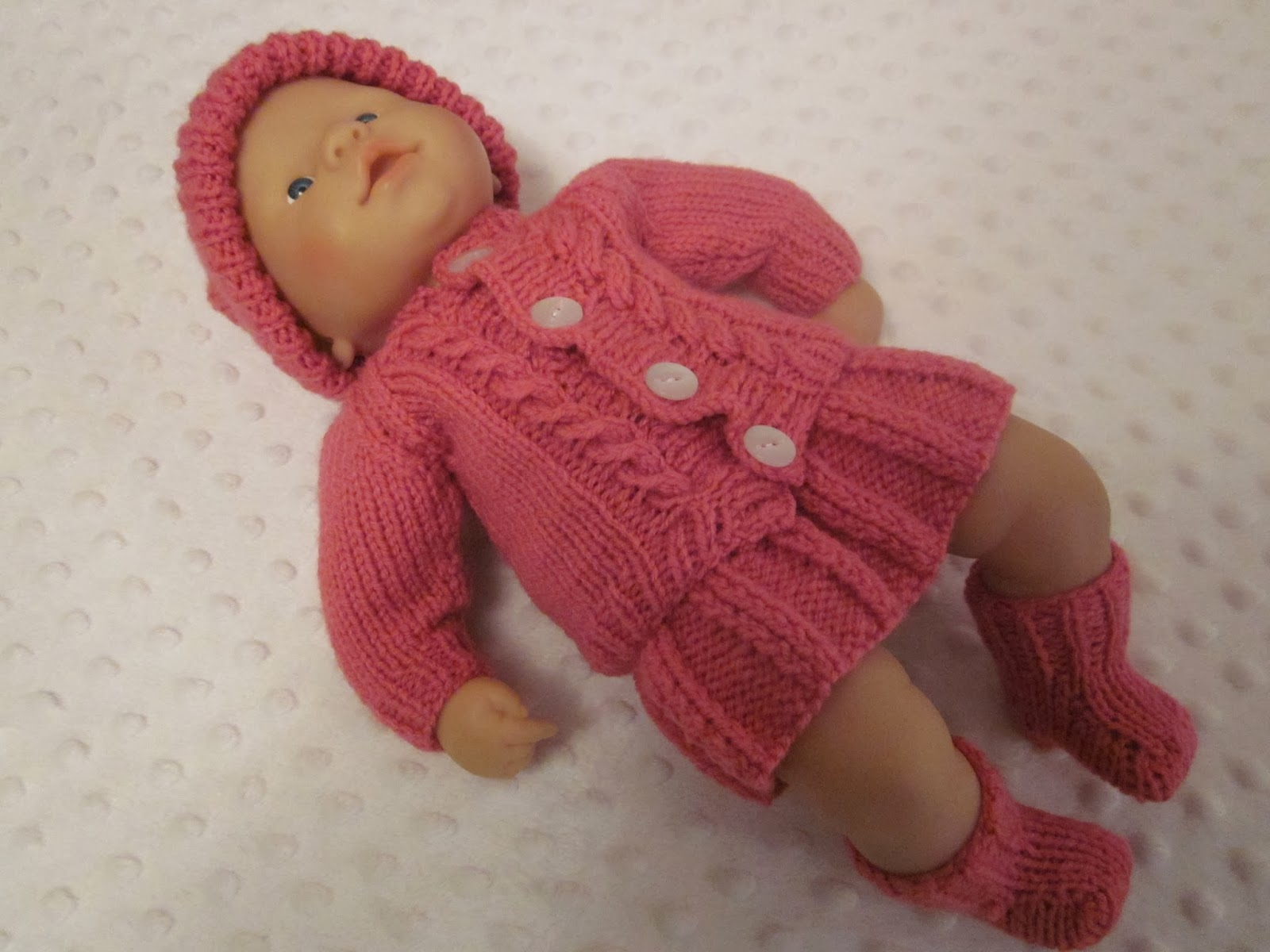 Hand Knitted Dolls Clothes: Pleated Skirt and cardigan Set