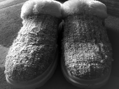 black and white picture of slippers