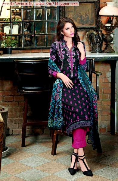 Gul Ahmed Premium Embroidered Chiffon for Fall 2014
