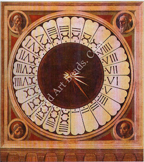 In 1443, the same year as Uccello made his cartoons for the Duomo's windows, he also painted a clock-face for the interior using linear perspective to create the illusion of a three-dimensional space