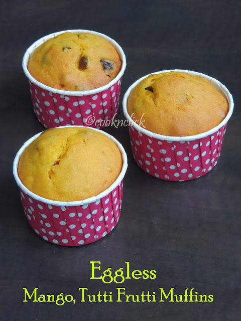 Eggless Mango, Tutti Frutti Muffins