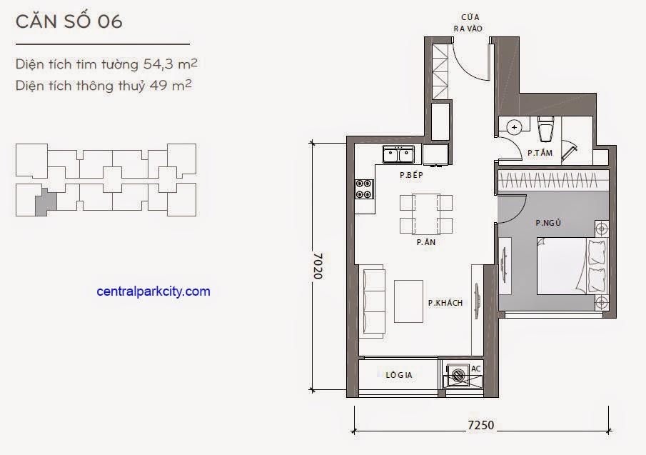 Căn hộ Landmark 2 & 3 - kiểu nhà số 06 - 54.3m2 - 1PN