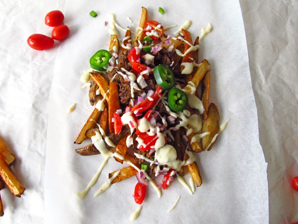 Loaded Fries with Mexican Braised Beef and Queso