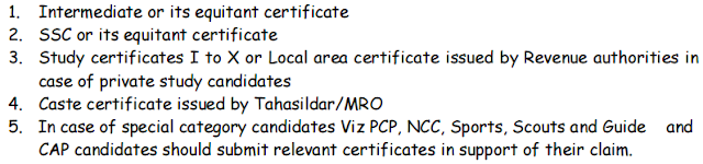 Required Certificates for Verification of DEECET/DIETCET