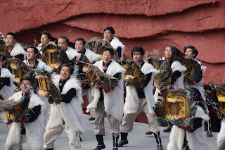 Male dancers at Impression Lijiang show