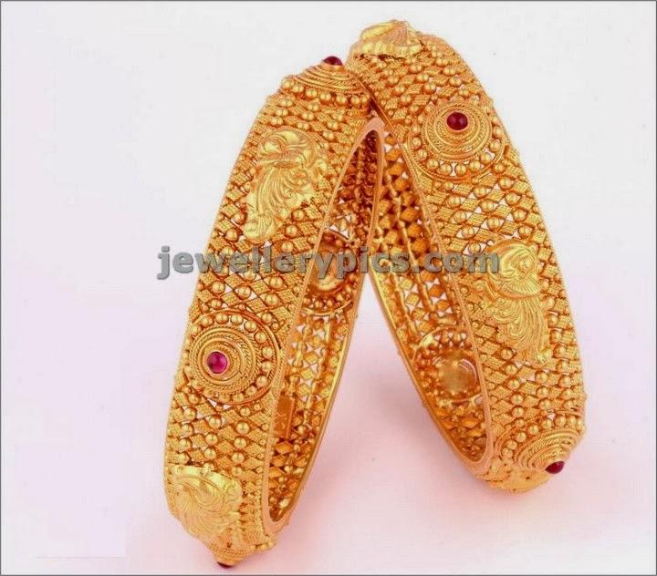 antique gold bangles bridal designs by vbj