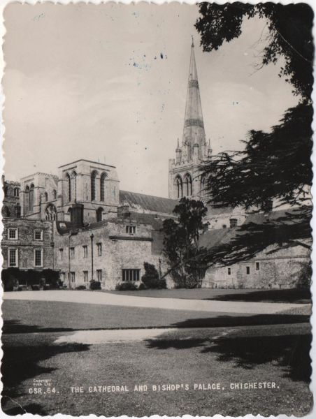 Chichester cathedral and bishop's palace black and white