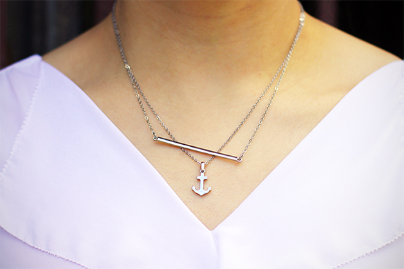 BaubleBar silver bar necklace with BaubleBar silver anchor necklace