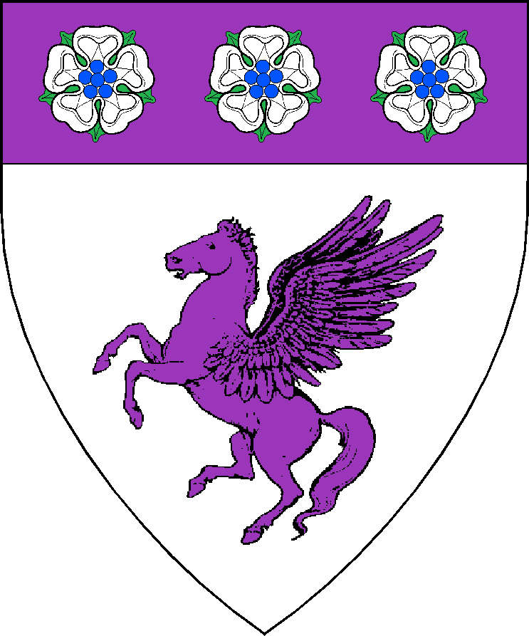 Argent, a pegasus segreant and on a chief purpure, three roses argent, barbed vert, seeded azure.