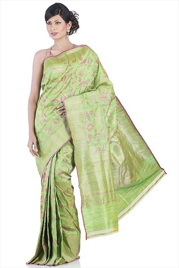 Kelly Green Tassar Banarasi Saree