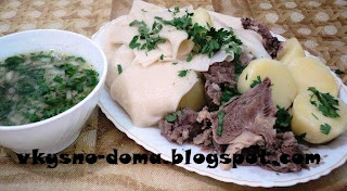Казахский бешбармак с лепешками