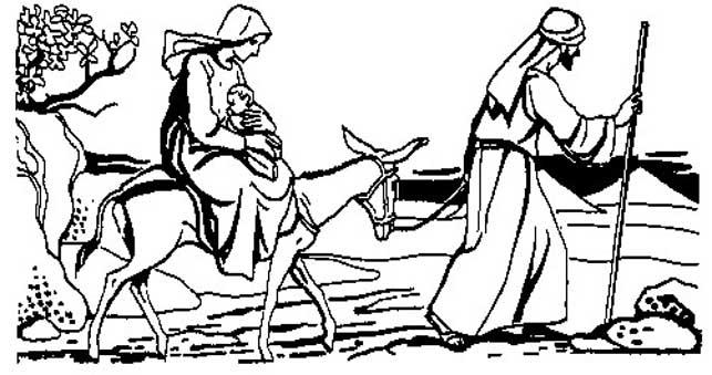 La huida a Egipto de Jesus, Maria y Jose. Dibujo para colorear